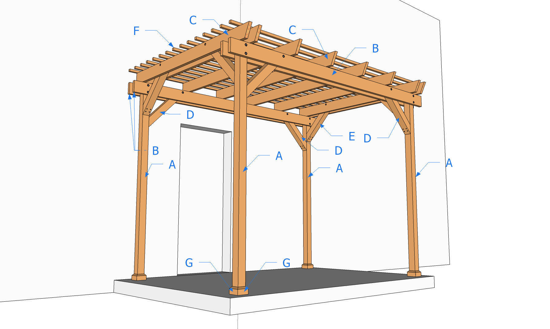 plan de construction dune pergola en bois. Black Bedroom Furniture Sets. Home Design Ideas